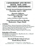 Censorship and Music: Rock, Rap, and the First Amendment by Institute of Bill of Rights Law at The College of William & Mary School of Law