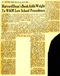 Harvard Dean's Book Adds Weight to W&M Law School Precendence