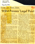 Earliest Law School Claim: W&M Presses 'Legal' Point