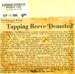 No Longer First: Tapping Reeve 'Demoted'