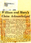 William and Mary's Claim Acknowledged