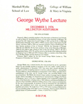 1976 George Wythe Lecture