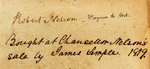 Robert Nelson -- Virginia to [...] -- Bought at Chancellor Nelson's sale by James Semple 1819