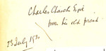 Charles Church, Esq, from his old friend 23 July 1920