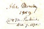 Alex. Moseley 1859 / Wm M. Perkins, Dec. 9, 1872