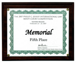 The 2007 Philip C. Jessup International Law Moot Court Competition: Memorial, Fifth Place