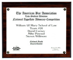 The American Bar Association Law Student Division National Appellate Advocacy Competition: Quarterfinalist