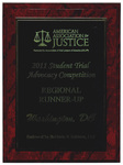 America Association of Justice 2011 Student Trial Advocacy Competition: Regional Runner-Up