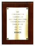Irving R. Kaufman Securities Law Moot Court Competition: Winner