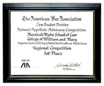 The American Bar Association Law Student Division National Appellate Advocacy Competition: 1st Place