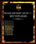William and Mary Law Review Best Note Award