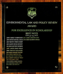 Environmental Law and Policy Review Award For Excellence in Scholarship: Best Note