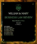 William & Mary Business Law Review Best Student Note Award